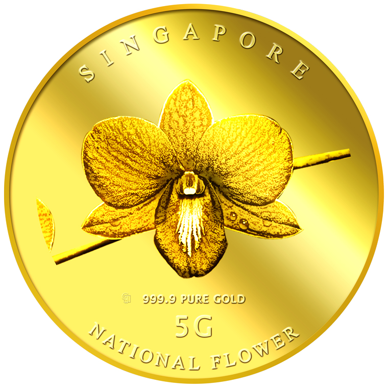 5g SG National Flower (Round) Gold Medallion