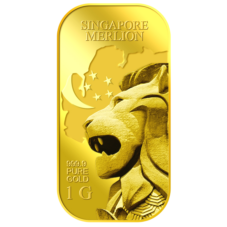 1g SG Merlion Map Gold Bar