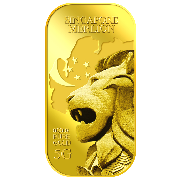 5g SG Merlion Map Gold Bar